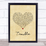 Coldplay Trouble Vintage Heart Song Lyric Print