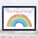 Shakira Try Everything Watercolour Rainbow & Clouds Song Lyric Print