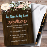 Shabby Chic Pastel And Wood Customised Anniversary Party Invitations
