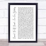 Elton John Funeral For A Friend Love Lies Bleeding White Script Song Lyric Print
