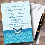Tiffany Blue Turquoise Vintage Floral Damask Butterfly Customised Anniversary Party Invitations