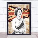 Queen Elizabeth Great Britain London Town Vintage Punk Wall Art Print