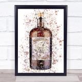 Watercolour Splatter Monkey Gin Bottle Wall Art Print