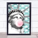Statue Of Liberty Bubblegum Retro Clouds Wall Art Print