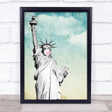 Statue Of Liberty Retro Style Bubblegum Wall Art Print