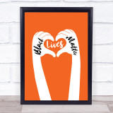 Black Lives Matters Text Within Heart Shaped Fingers Orange Wall Art Print
