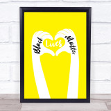 Black Lives Matters Text Within Heart Shaped Fingers Yellow Wall Art Print