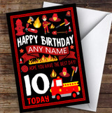 Black Fire Engine Truck Fireman Fire Fighter Any Age Children's Birthday Card