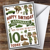 Camouflage Army Soldier Any Age & Name Personalised Children's Birthday Card