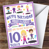 Trampoline Bounce Any Age & Name Personalised Children's Birthday Card