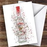 Watercolour Splatter Red Sambuca Bottle Any Occasion Personalised Birthday Card