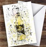Watercolour Splatter Press Cider Bottle Decorative Personalised Birthday Card