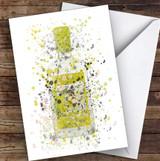 Watercolour Splatter Yellow Lemon Swan Gin Bottle Personalised Birthday Card