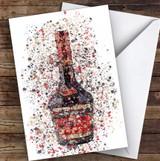 Watercolour Splatter Cherry Brandy Liqueur Bottle Personalised Birthday Card