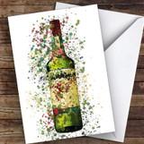 Watercolour Splatter Green Irish Whiskey Bottle Personalised Birthday Card