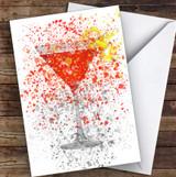 Watercolour Splatter Cosmopolitan Cocktail Glass Decorative Birthday Card