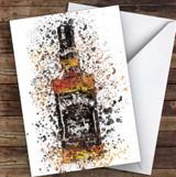Watercolour Splatter Black Jack Whiskey Bottle Personalised Birthday Card