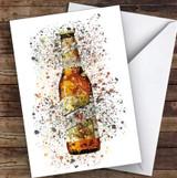Watercolour Splatter Filipino Lager Bottle Personalised Birthday Card