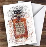 Watercolour Splatter Almond Liqueur Bottle Personalised Birthday Card