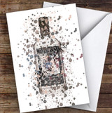 Watercolour Splatter Black Swan Gin Bottle Personalised Birthday Card