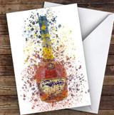 Watercolour Splatter Cognac Brandy Bottle Personalised Birthday Card