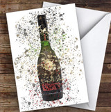 Watercolour Splatter French Cognac Bottle Personalised Birthday Card