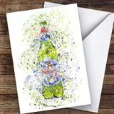 Watercolour Splatter Italian Lager Bottle Personalised Birthday Card