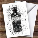 Watercolour Splatter Black Dog Gin Bottle Personalised Birthday Card