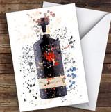 Watercolour Splatter Black Dry Gin Bottle Personalised Birthday Card