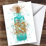 Watercolour Splatter Blue Pool Gin Bottle Personalised Birthday Card