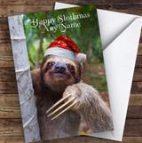 Cute Sloth Happy Slothmas Personalised Christmas Greetings Card