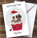 Pug Dog In Bucket Personalised Christmas Greetings Card