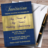 Blue And Glitter Look Gold Wedding Anniversary Party Customised Invitations