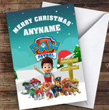 Paw Patrol Pups & Rider Christmas Snow Scene Children's Christmas Card