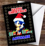 Retro Sonic The Hedgehog Xmas Personalised Children's Christmas Card