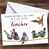 Cute Birds Very Special Teacher Personalised Christmas Card