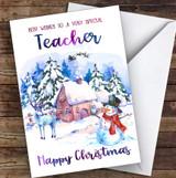 Watercolour Snowman Teacher Personalised Christmas Card