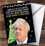 Funny Boris Keep Your Distance It's Covid Outside Lockdown Christmas Card