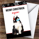 Funny Cat Meowy Christmask Corona Lockdown Personalised Christmas Card