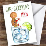 Funny Gin-Gerbread Man Joke Personalised Christmas Card