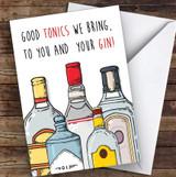 Funny Good Tonics Gin Joke Personalised Christmas Card