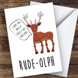 Funny Joke Rude Olph Joke Personalised Christmas Card