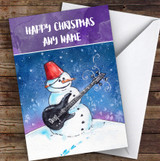 Snowman Playing Electric Guitar Personalised Christmas Card
