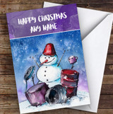 Snowman Playing Drums Personalised Christmas Card