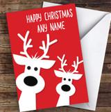 Red & White Peeking Reindeers Personalised Christmas Card