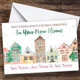 Watercolour Houses 10th Xmas In New Home Personalised New Home Christmas Card