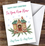 First Christmas In New Home Green Roof Personalised New Home Christmas Card