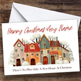 Houses & Snowman New Home At Christmas Personalised New Home Christmas Card