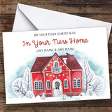 Red House First Christmas In New Home Personalised New Home Christmas Card