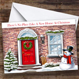 Brick Red Door New Home At Christmas Personalised New Home Christmas Card